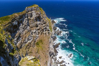 Wunschmotiv: Republic of South Africa. Dramatic cliff of the Cape Point (the most south-western point of the African continent) and turbulent waters of Atlantic Ocean #117551796 - Bild als Klebe-Folie - 3:2 - 60 x 40 cm / 40 x 60 cm -