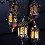 Hueca Retro Hierro forjado candelabro lámpara de araña/16inch cadena estilo marroquí candelabro lámpara de araña, Blanco, 23*8cm
