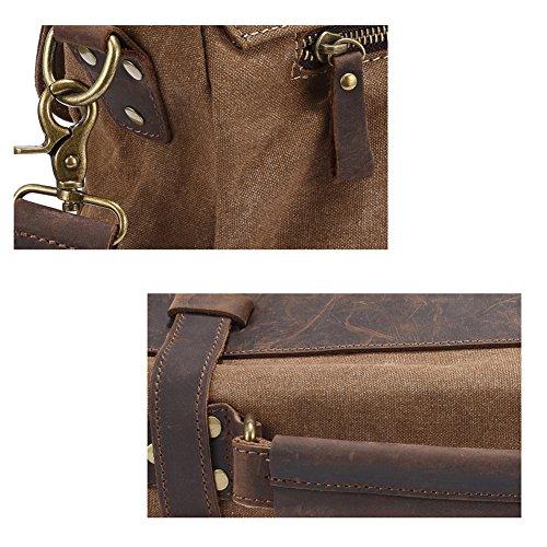 YAAGLE Verrücktes Pferd Herren schick Freizeit Canvas Segeltuch Kuriertasche Schultertasche Handtasche Business Taschen -grau grey