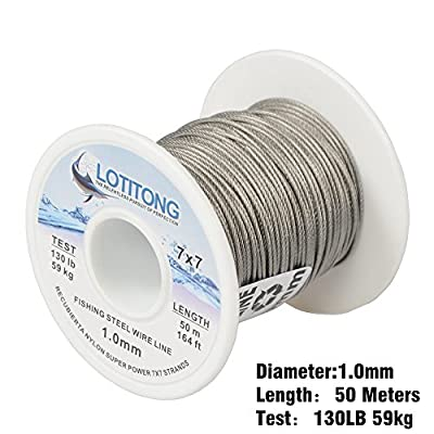 LOTITONG Super power 130LB 164ft fishing steel wire line 7x7 49 strands Trace Coating Wire Leader Coating Jigging Wire Lead Fish Jigging Line diameter 1.0mm by BlueJays mall