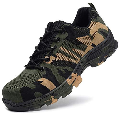 SUADEEX Arbeitsschuhe Damen Herren Sicherheitsschuhe s3 Leicht Stahlkappen Sportlich Schuhe, 05-grün, 47 EU