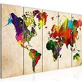 Bilder Weltkarte 200 x 80 cm Vlies - Leinwand Bild XXL Format Wandbilder Wohnzimmer Büro Deko Kunstdrucke Bunt 5 Teilig -100% MADE IN GERMANY - Fertig zum Aufhängen World Map W105155a