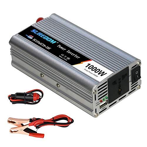 1000W/2000W Wechselrichter Spannungswandler 24V 12V DC auf 230V AC Modified Sine Wave Power Inverter Umwandler für Auto, Direktanschluss an Autobatterie, Zigarettenanzünder Stecker,24Vto110V-1000W