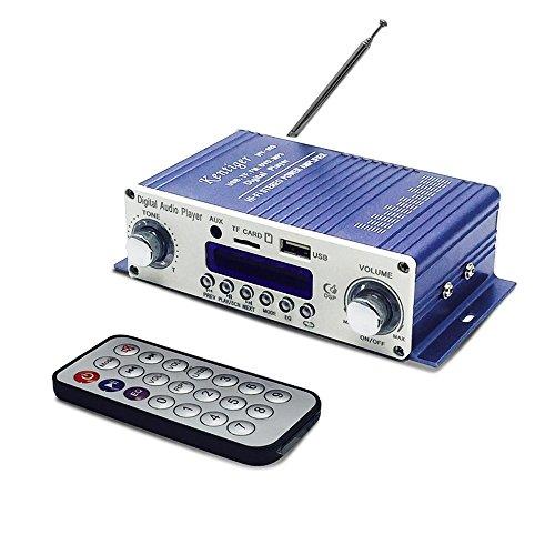 Mini Verstärker, HiFi Stereo Audio Verstärker 12V Mini Endstufe Audio Musik Player für Auto / Motorrad / Heimkino / Lautsprecher, unterstützt SD / DVD / USB / MP3 / FM Digital Player