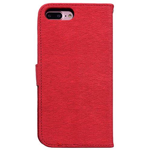HB-Int PU Leder Hülle für iPhone 7 Plus Wallet Lederhülle mit Handschlaufe Kreditkartenfächer Standfunktion Handytasche Drucken Weinstock Schmetterling Muster Schutzhülle im Bookstyle Magnetverschluss Rot