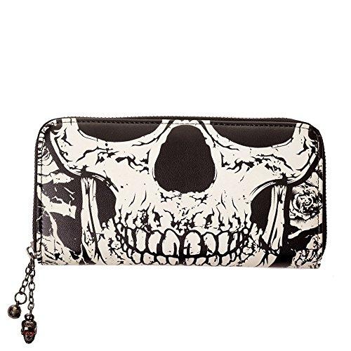 Banned Damen Totenkopf Geldbeutel - Skull XL Geldbörse - Leuchtet im Dunkeln Portemonnaie