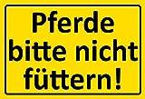 ComCard Pferde Bitte Nicht füttern gelber Schild Schild aus Blech tin Sign