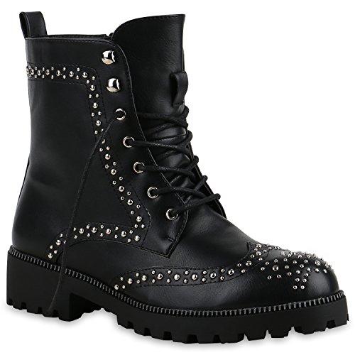 Damen Outdoor Boots Stiefeletten Nieten Plateau Schnürstiefeletten Schwarz
