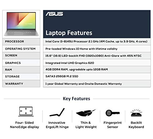 ASUS VivoBook 15 X512FA Intel Core i3 8th Gen 15.6-inch FHD Thin and Light Laptop (4GB RAM/256GB SSD/Windows 10/Built-in Graphics/Transparent Silver/1.70 kg), X512FA-EJ549T Image 3