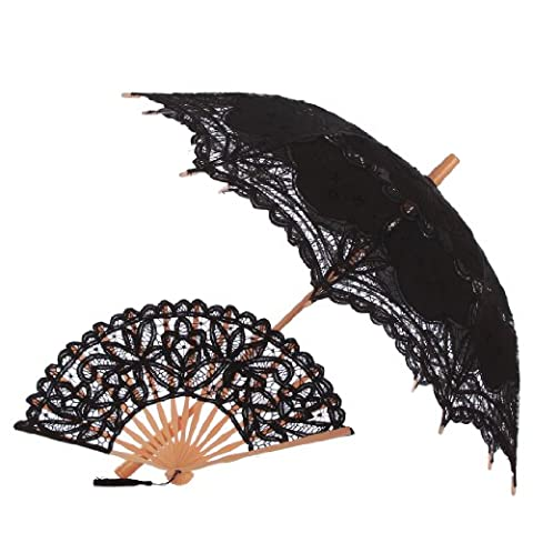 Topwedding Embroidery Parasol and Matching Fan Set with Tassel,