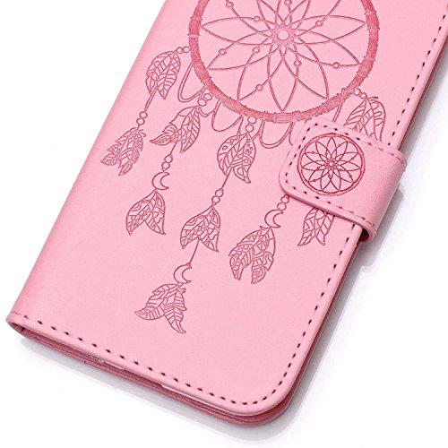 iPhone 6Custodia Sottile, toyym iPhone 7PU Custodia in pelle per carte di credito e contanti], Pretty fiore 3d Acchiappasogni Pressed Pattern Custodia a portafoglio Flip Chiusura Magnetica Book Desi Pink Dream Catcher
