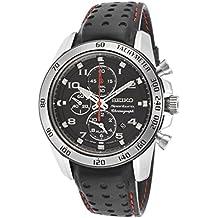 Seiko SNAE65P1 - Reloj con correa de cuero para hombre, color negro / gris