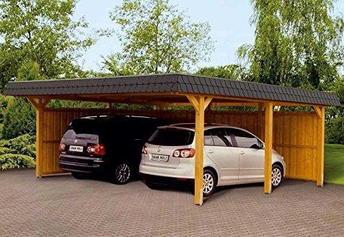 SKAN HOLZ Europe Gmbh Skan Holz Carport Wendland 630 x 879 cm mit Abstellraum mit roter Blende