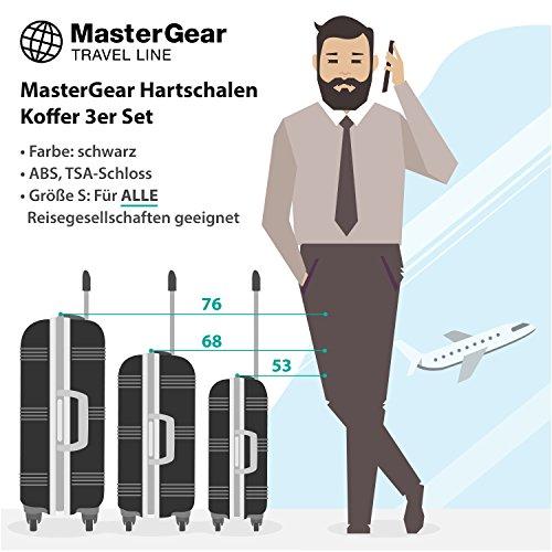 MasterGear Hartschalen Koffer 3er Set - mit 4 Rollen (360 Grad), Trolley, Reisekoffer, ABS, TSA, S (Handgepäck Maße)-M-L, stapelbar, schwarz