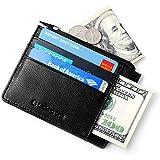 Lackingone Portefeuille en Cuir Classique Mince RFID Blocage Carte de Crédit Cadeau Saint Valentin pour Homme ou Femme - Noir