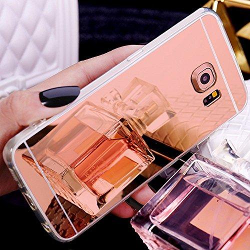 Preisvergleich Produktbild Galaxy S6 Edge Plus Hülle, Galaxy S6 Edge Plus Spiegel Hülle Mirror Case, Ukayfe Spiegel TPU Schutzhülle Silikon Handyhülle Tasche Case Cover für Samsung Galaxy S6 Edge Plus Rose Gold Plating Silikon Schutzhülle Luxus Glänzend Shiny Kristall Strass Rahmen Slim TPU Handy Gehäuse Hülle Ultradünnen Weiche Soft TPU Telefon-Kasten Handyhülle Mirror Spiegelnd Make Up Protective Case Cover Bumper für Samsung Galaxy S6 Edge Plus - Spiegel,Rose Gold