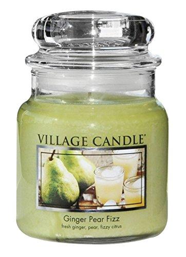 Village Candle Ingwer-Birne Brause Duftkerze im Glas, 454 g, grün, 9.7 x 9.5 cm