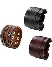 Set de 3 pulseras de piel para hombre de Oidea, de estilo punk rock, ancho de 4,1 cm a 5cm, trenzadas y hechas a mano, con cordones y botón de presión, botones de aleación, color marrón y negro