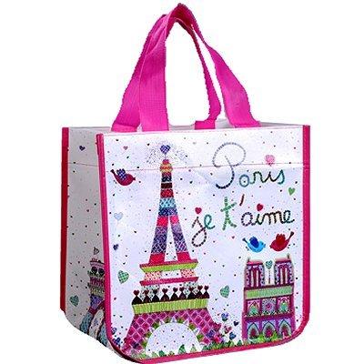 Fox Trot 9331AIME Petit Sac Cabas Motif Paris Je t'Aime Non Tissé 30 x 18 x 30 cm