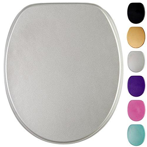 Glitzer WC Sitz, viele schöne glitzer WC Sitze zur Auswahl, hochwertige und stabile Qualität aus Holz (Silber)