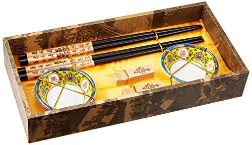 """Quantum Abacus: set de palillos chinos hechos de madera, diseño """"Larga vida"""", viene con soporte para los palillos y cuencos de cerámica en una caja de regalo (un par de palillos, dos soportes y dos cuencos), CBS-S2-G-H06"""