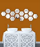 #9: [ Myhome ] Hexagon silver mirror acrylic stickers (pack of 14)