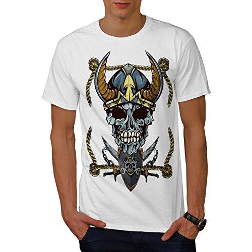 Wikinger Pirat Metall Schädel Krieger Kunst Männer XXXL T-shirt | Wellcoda (Krieger-schädel-t-shirt)