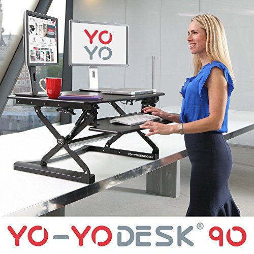 Yo-Yo Desk 90 (Schwarz) – Steh-Sitz Schreibtisch.Höhenverstellbarer Tisch (90cm breit)