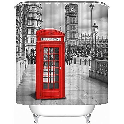 GYMNLJY 3D Red Telephone booth stampa tenda doccia in poliestere impermeabile vasca Ombra doccia per vasca da bagno 180 * 180cm