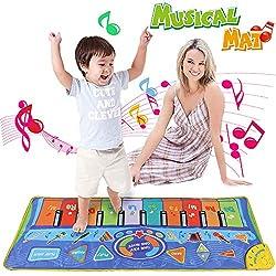 Anpro Klaviermatte Musikmatte Kinder Spielzeug, Piano Mat Tanzmatten Kinder mit Aufnahme Funktion, 10 große Klaviertasten 8 Instrumente-Stimmen, Musical Spielzeug Kinder, 130 * 48 cm