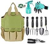 Garten Werkzeug Organizer Tasche mit 10Stück Gartenwerkzeuge, Best Garten-Geschenk Set, Gemüse Garten-Werkzeug-Set, Garten-Hand Tools Set Tasche mit Garten Graben Claw Gartenhandschuhe
