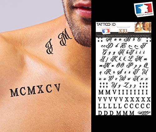 Tattoo id - tatuaggio temporaneo xxl con lettere e numeri romani, anallergico, realizzato in francia, 1 foglio, 22 x 14,5 cm, unisex