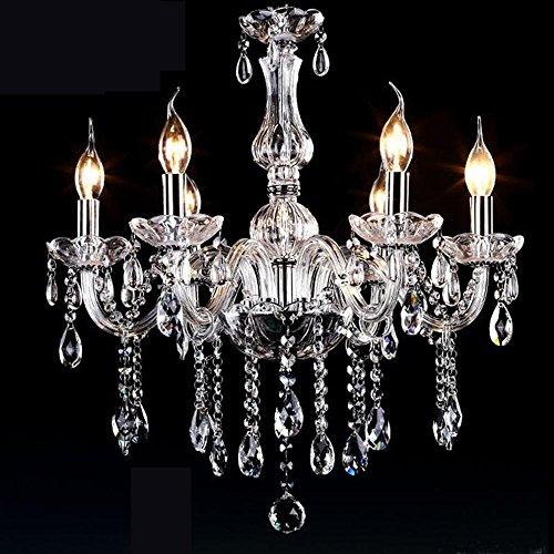 Ventura Juwel (Kristall Kerze Kronleuchter Wohnzimmer Schlafzimmer Lichter Glas Led Zimmer Kronleuchter Saug Hängen Dual Use Lichter 6 Head Transparent)