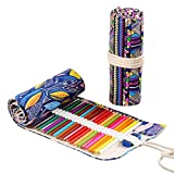 JZK 2 x Astuccio arrotolabile portamatite in tela custodia portapenne con 72 posti per matite colorate pennarelli borsa porta matite da viaggio
