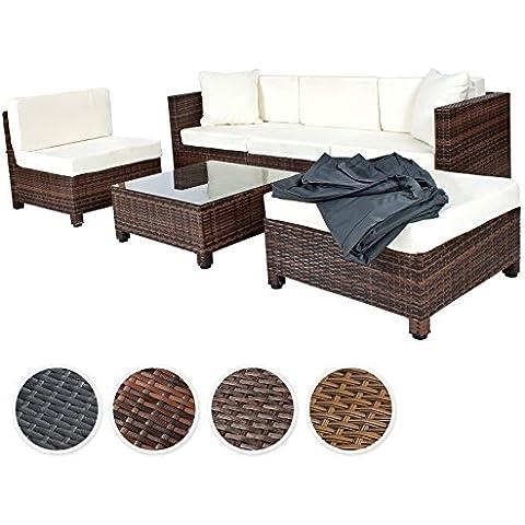 TecTake Conjunto muebles de Jardín en Poly Ratán Aluminio, Negro/Marrón mixed.