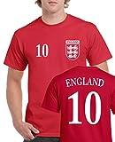 TRIKOT - ENGLAND - 10 - Herren T-Shirt - Rot / Weiss Gr. M