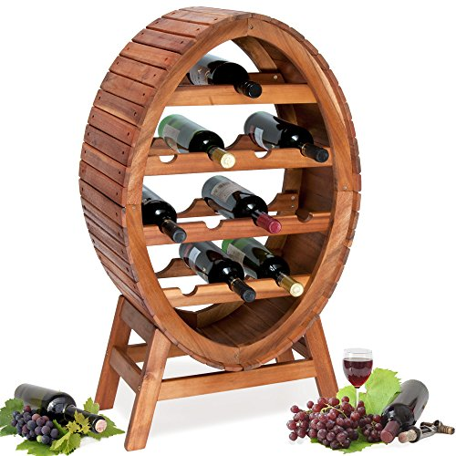 Weinregal für 12 Flaschen aus Massiv Holz im stilvollem Design Höhe 89cm Weinständer Weinfass Flaschenregal Fass Flaschenständer Vintage