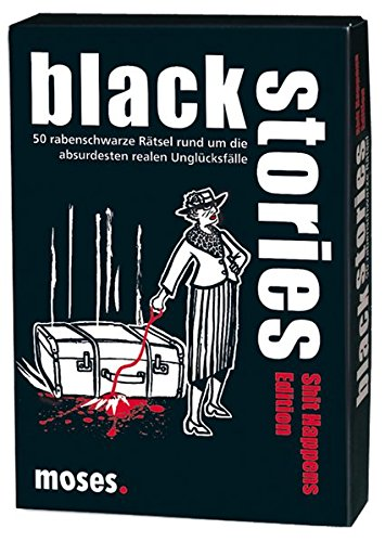 Moses black stories Shit Happens Edition, 50 rabenschwarze Rätsel, Das Krimi Kartenspiel