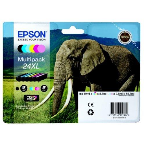 Encre d'origine EPSON Multipack Eléphant T2438 : cartouches Noir XL, Cyan XL, Magenta XL, Jaune XL, Cyan clair XL, Magenta clair XL [Emballage « Déballer sans s'énerver par Amazon »]