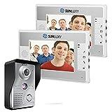 SUNLUXY® Timbre Videoportero Intercomunicador Cámara de Vigilancia 2x Monitor 7