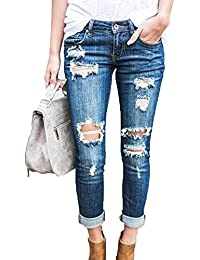 Mujer Elasticos Skinny Pantalones Push Up Vaqueros Boyfriend Rotos Ocio  Estilo Jeans 68af20f42315