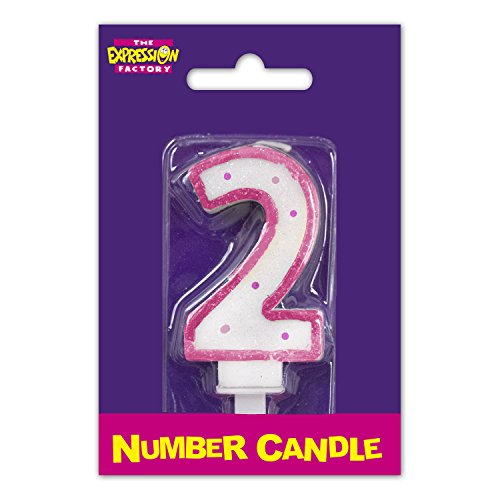 Number 2 Pink Edge Age Candle