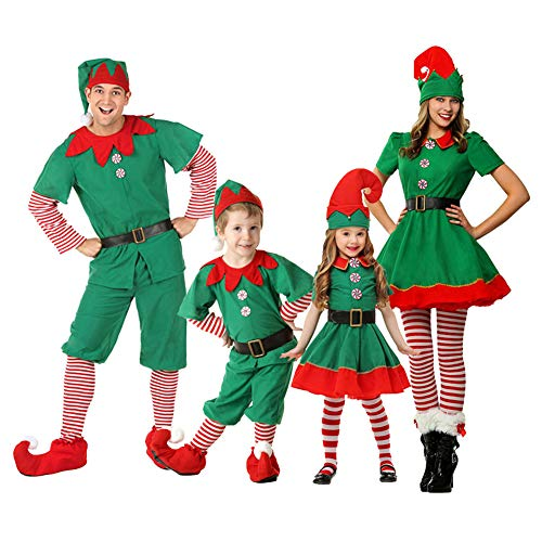 Goyajun Unisex Erwachsene Kinder Baby Weihnachtself Kostüm Halloween Party Cosplay Weihnachtskostüm Elfen Outfit (Fancy Halloween Dress Ideen Paare)