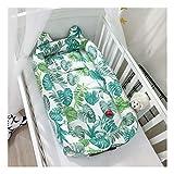 Babynest Kuschelnest Tragbar Babybett Reisebett mit Stillkissen,88 x 50cm (Grün-Blatt)