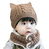 Baby Kleinkind Kinder Jungen Mädchen Strickmütze Strickschlauchschal 2 in 1 Set Baby Acryl Wollmütze Strickmütze Strickschal Loop Scarf Verdickt mit Lamm Fleece - Einfarbig Kleine Katze Khaki