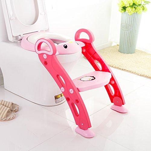 Toiletten Trainer, Samber Kinder Töpfchen Toilettentrainer WC-Sitz Toilettensitz mit Treppe und Haltgriff (Rosa)