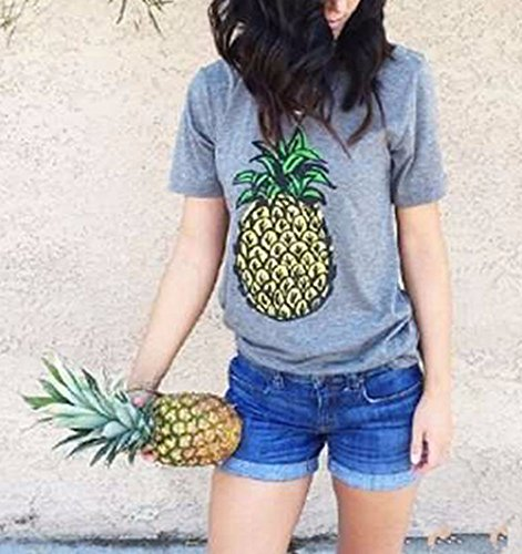 Lannorn Damen Sommer Funny Mode Ananas Brief kurzarm Printed Shirt,Lose lässige T-Shirts Grau Tee Tops Hemd. Ananas Druck