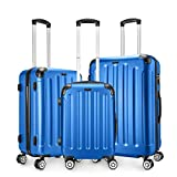 Amasava-Set of Maletas,Juego de Maletas Rígidas,Candado TSA,ABS,40L/55CM,65L/65CM.101L/75CM,4 Ruedas multidireccional,Azul