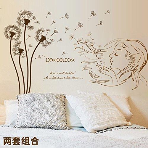 immer moderne Löwenzahn Mädchen und Yacht/Hirschkopf Wand Kunst Dekor Aufkleber, Braun po (Braun 3d Schmetterling Wand-dekor)
