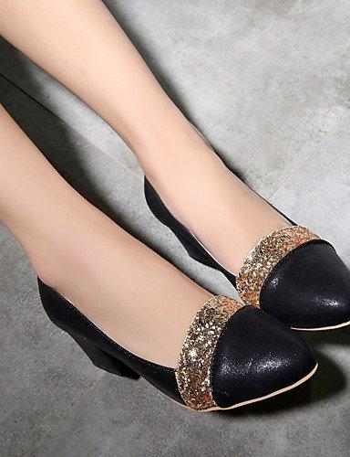 WSS 2016 Chaussures Femme-Habillé / Soirée & Evénement-Noir / Rouge / Argent-Gros Talon-Bout Pointu-Talons-Similicuir black-us6 / eu36 / uk4 / cn36